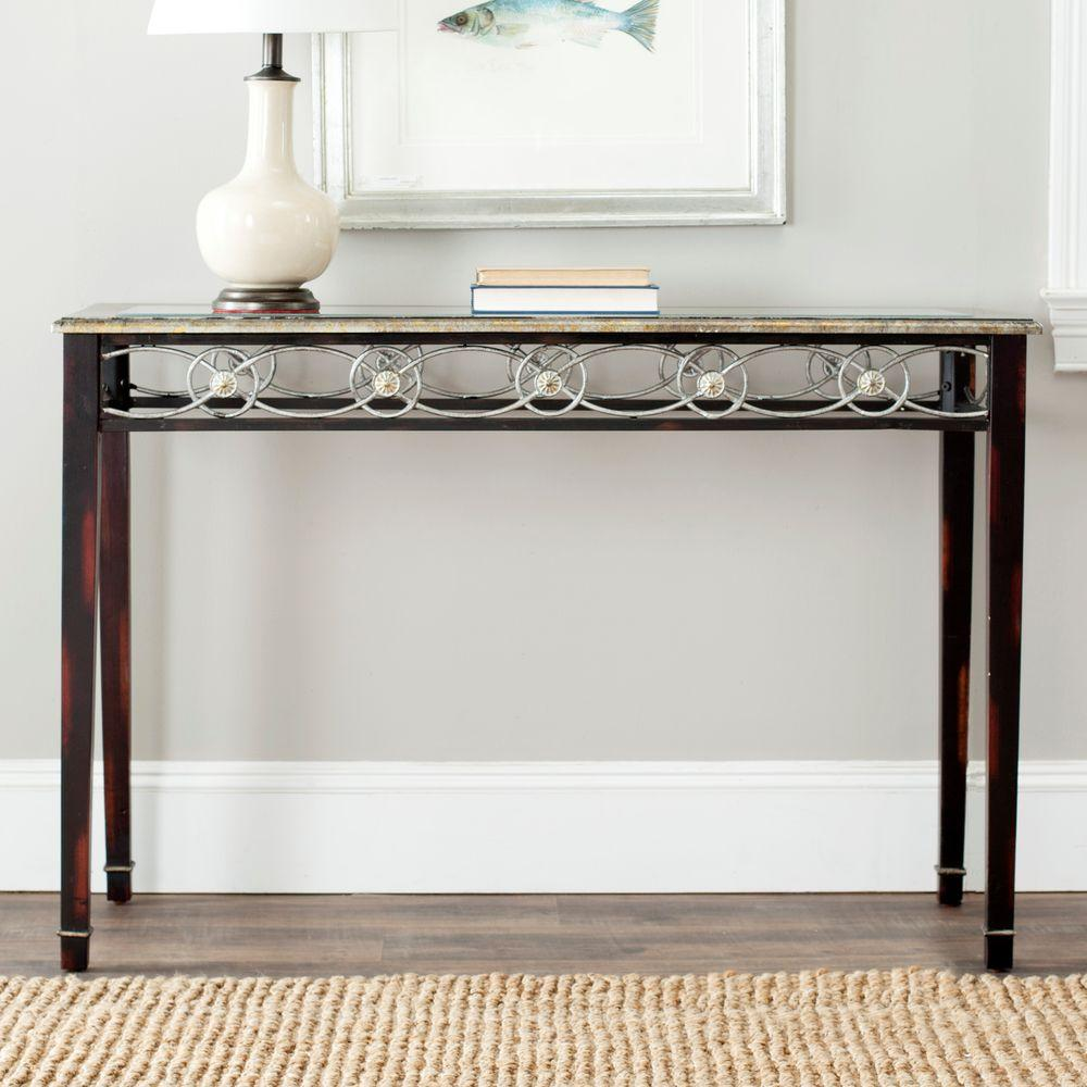 Safavieh Lisa Antique Black Console Table-AMH4049A - The Home Depot