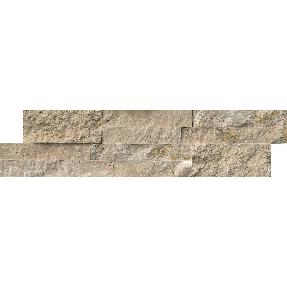 Durango Cream Splitface Ledger Panel 6 in. x 24 in. Travertine