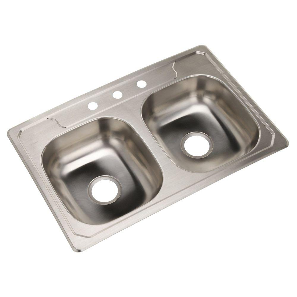 Middleton Drop-In Stainless Steel 33 in. 3-Hole Double Basin Kitchen Sink