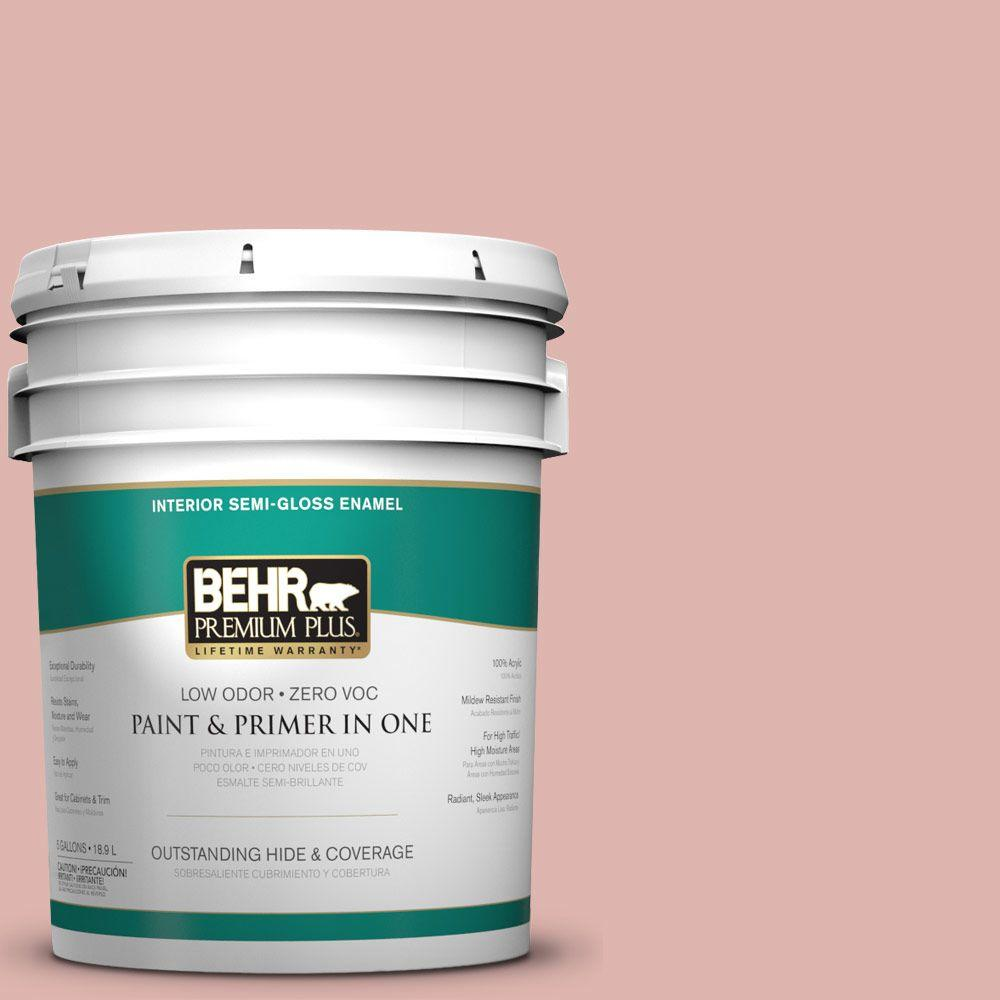 BEHR Premium Plus 5-gal. #S160-2 Pink Quartz Semi-Gloss Enamel Interior Paint