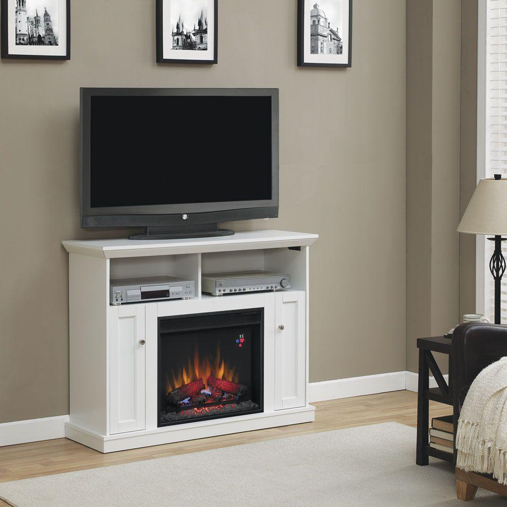 Hampton Bay Charles Mill 46 in. Convertible Media Console Electric Fireplace in White