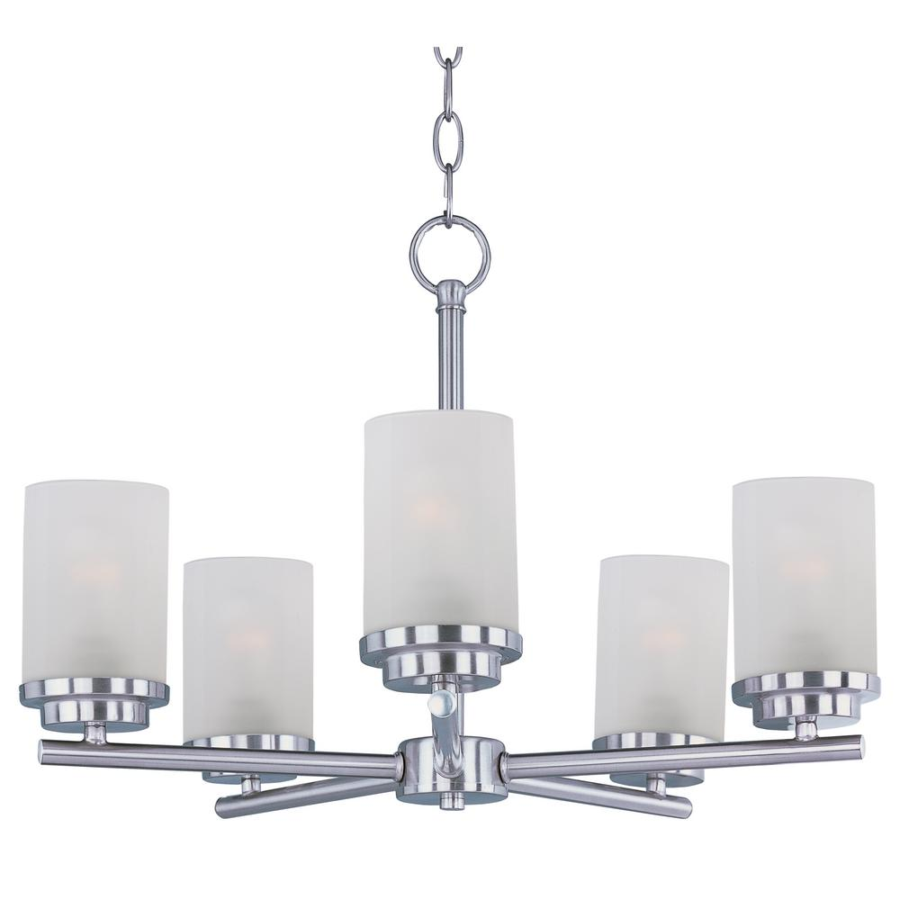 Corona 5-Light Satin Nickel Chandelier with Frosted Shade