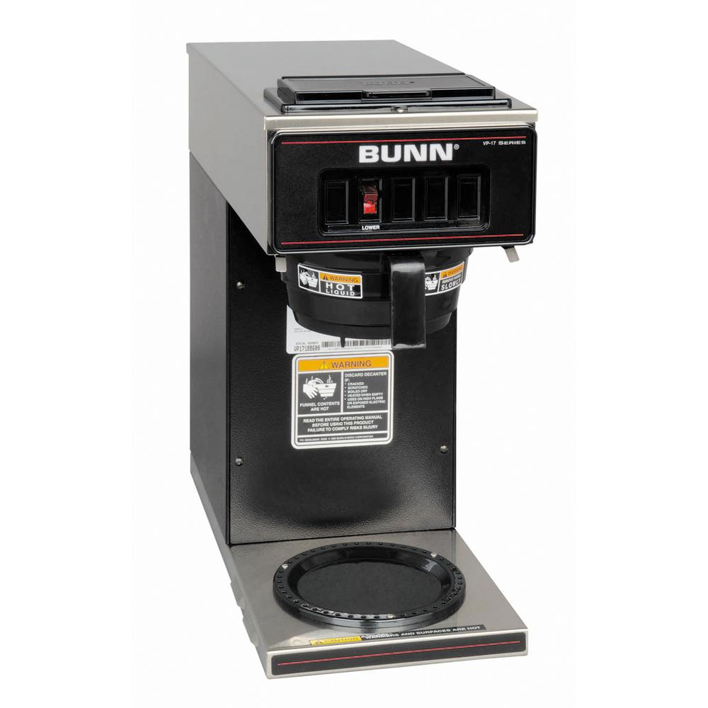 Bunn 64 oz. Low Profile Pourover Coffee Brewer with 1 Warmer in Black