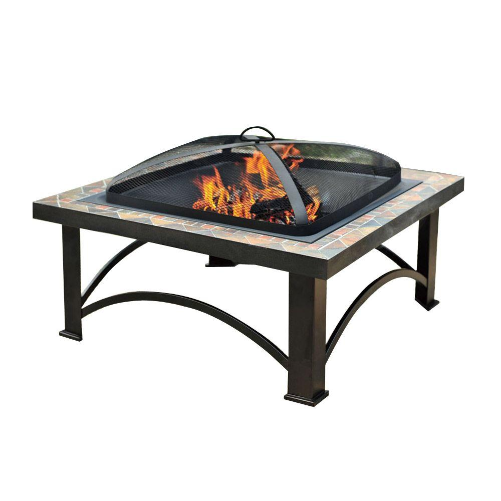 Sunjoy Andover 30 in. Slate Tile Fire Pit