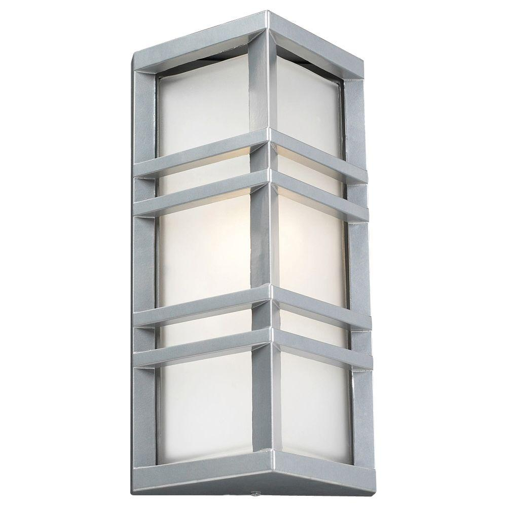 PLC Lighting 1-Light Outdoor Silver Wall Sconce with Frost Glass-CLI-HD8020SL -