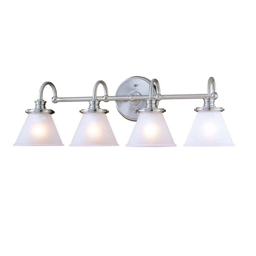 Hampton Bay Vanity Light Brushed Nickel : Hampton Bay 4-Light Brushed Nickel Wall Vanity Light-CBX1394-2/SC-1 - The Home Depot