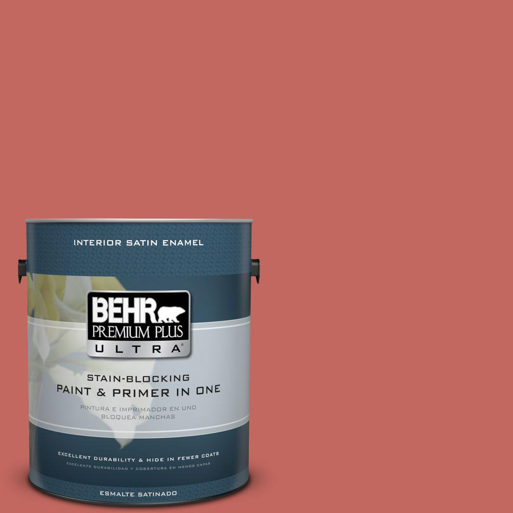 BEHR Premium Plus Ultra Home Decorators Collection 1-gal. #HDC-CL-10 Tapestry Red Satin Enamel Interior Paint