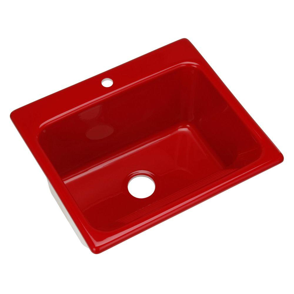 Thermocast Kensington Drop-In Acrylic 25 in. 1-Hole Single Bowl Utility Sink in Red