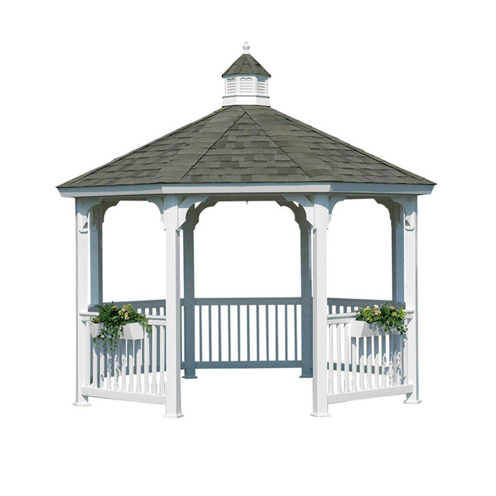HomePlace Structures 10 ft. Vinyl Octagon Gazebo without Floor
