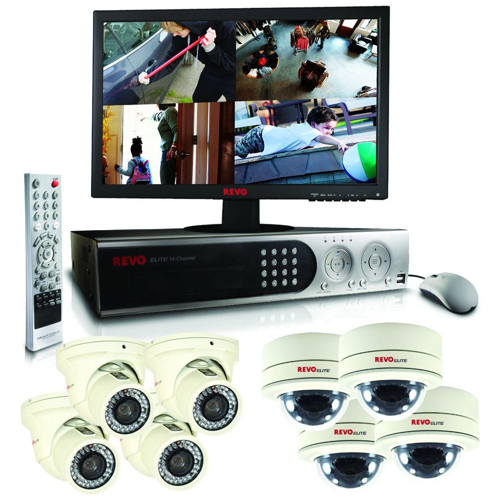 Revo Elite 16 CH 2TB Hard Drive Surveillance System with (8) 600TVL Cameras and 22 in. LED Monitor-DISCONTINUED