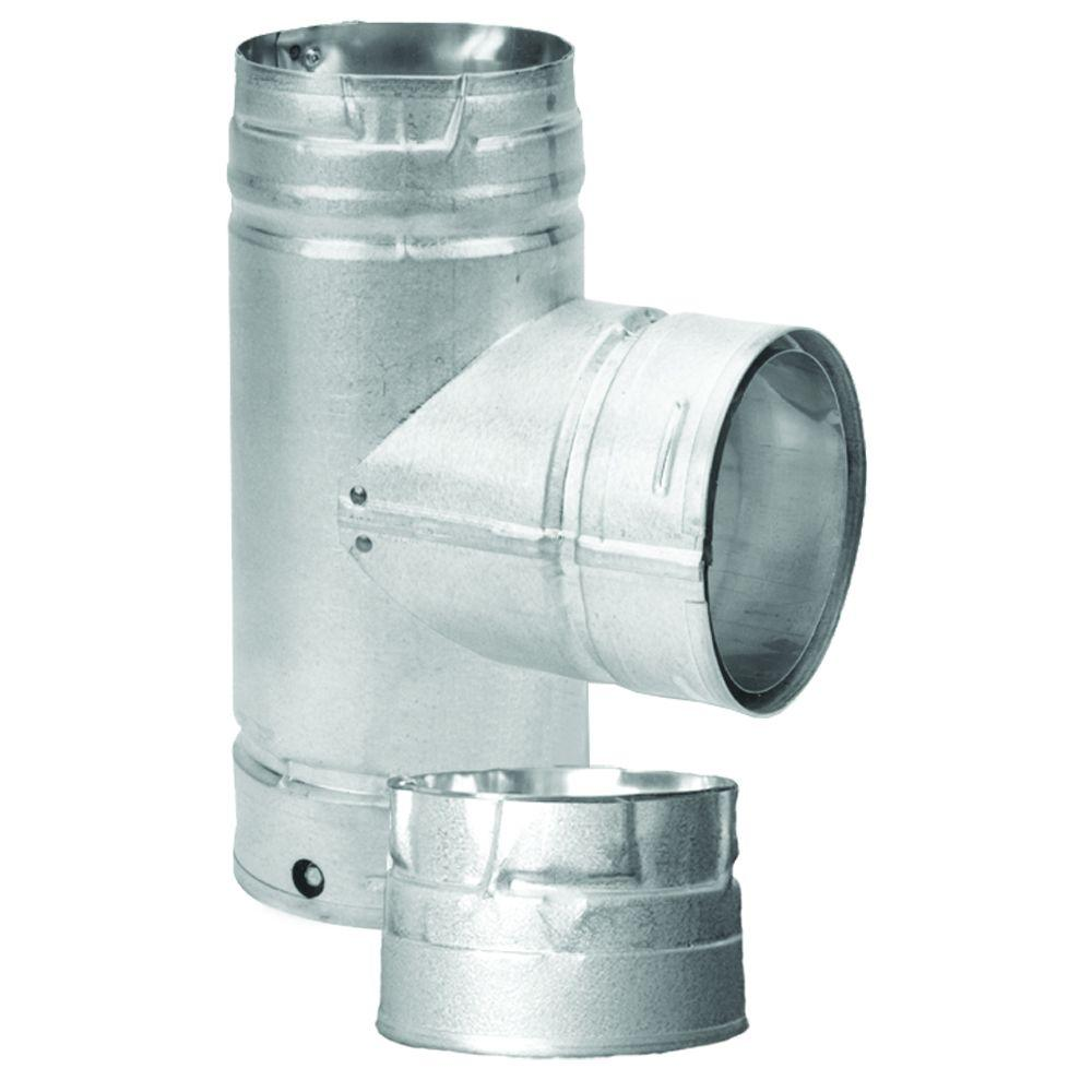 DuraVent PelletVent Multi-Fuel 3 in. Chimney Vent Tee with Clean-Out Cap