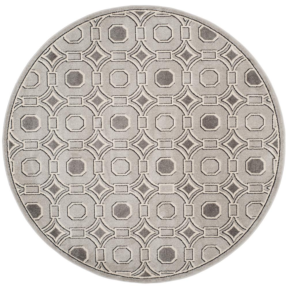Amherst Light Gray/Ivory 7 ft. x 7 ft. Round Indoor/Outdoor Area