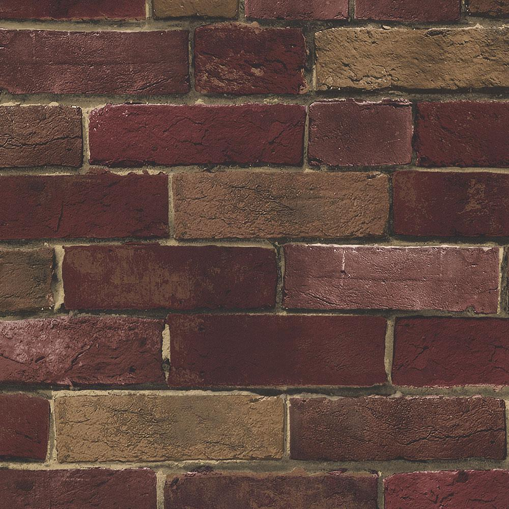 Norwall Photo Brick Wallpaper, Red/Brown