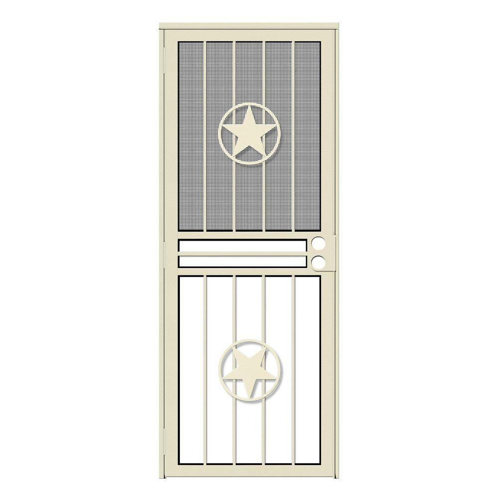 Unique Home Designs 30 In X 80 In Lone Star Almond Recessed Mount All Season Security Door
