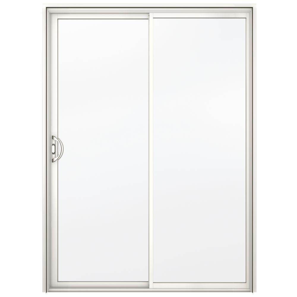 A 200 Series White Reversible Aluminum Sliding Patio Door With Clear  Tempered Glass
