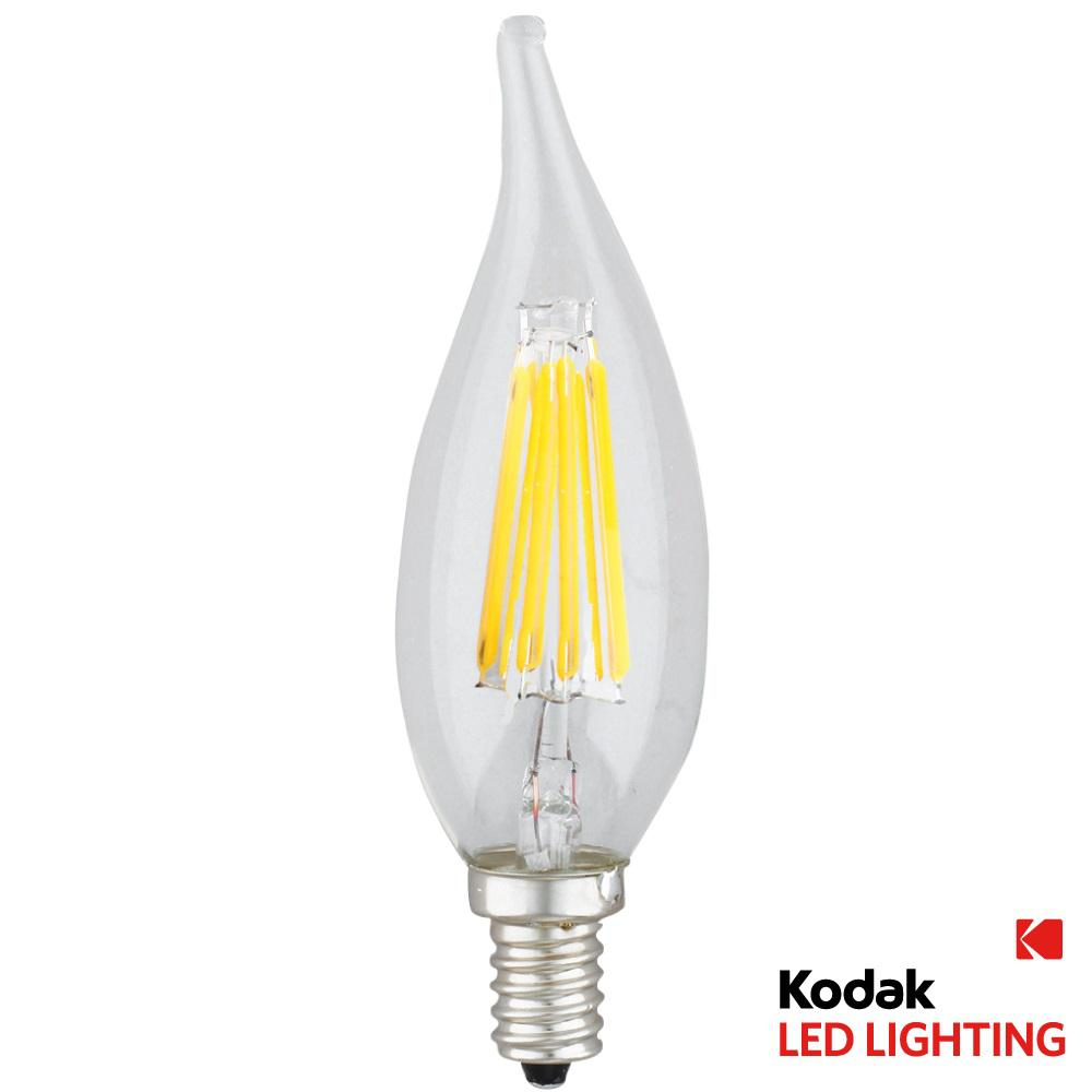Kodak 55W Equivalent Warm White E12 Candle Flame Dimmable LED Light