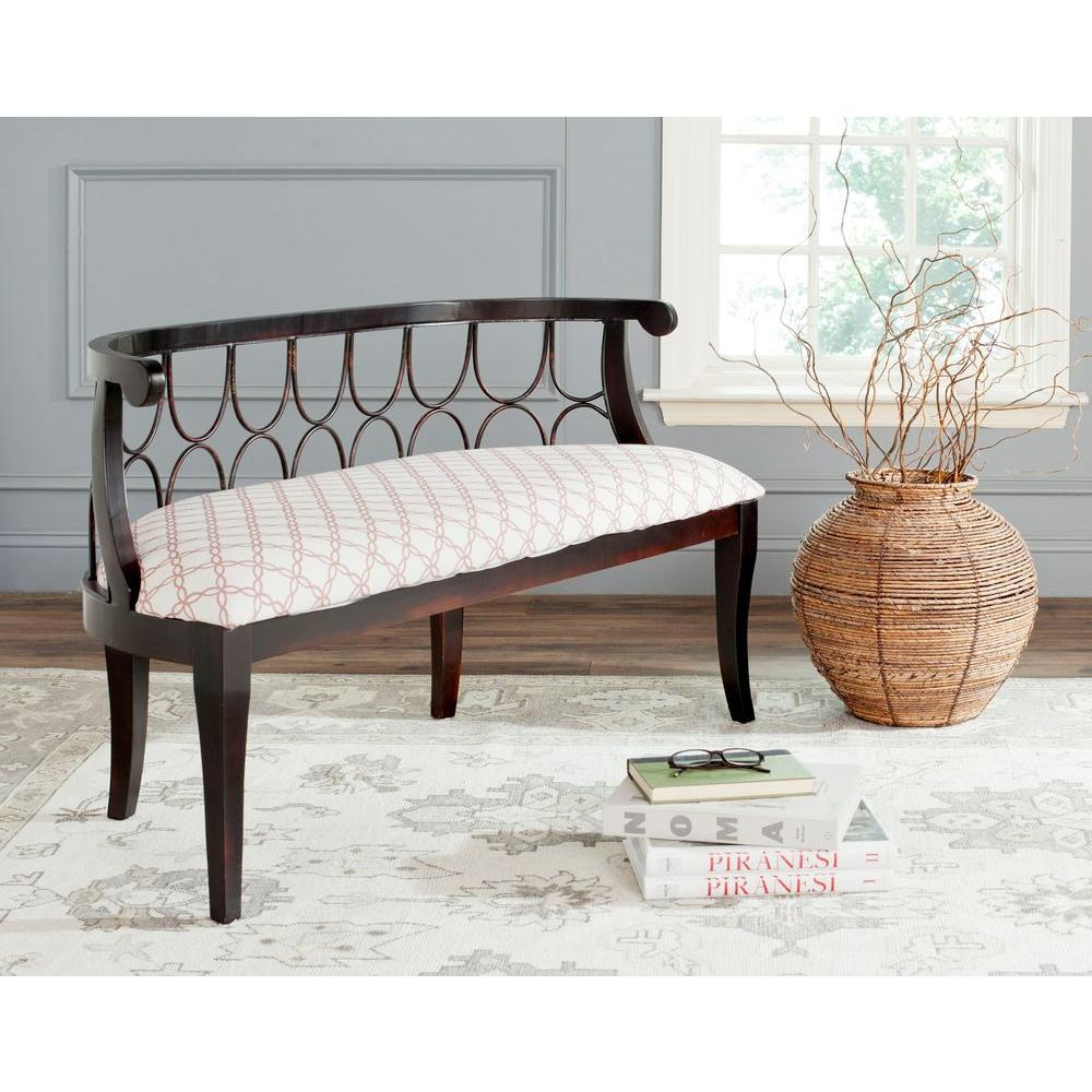 Safavieh Norma Bench in Rose and White-AMH4114C - The Home Depot