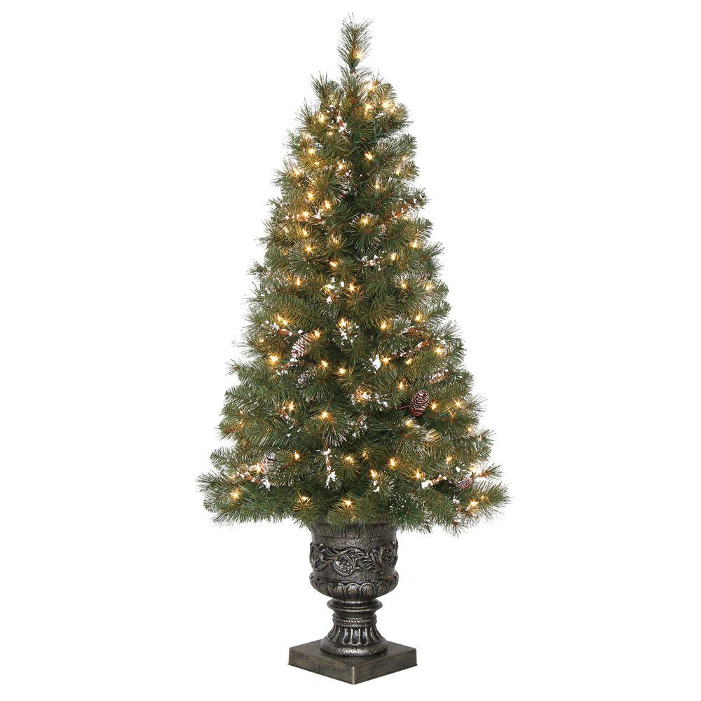 4.5 ft. Alpine Potted Artificial Christmas Tree with Pinecones and Glitter and 150 Clear Lights ...