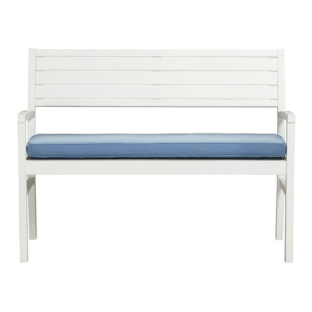 Martha Stewart Living Lake Carolina Picket Fence 2-Seat Outdoor Patio Bench with Periwinkle Cushion
