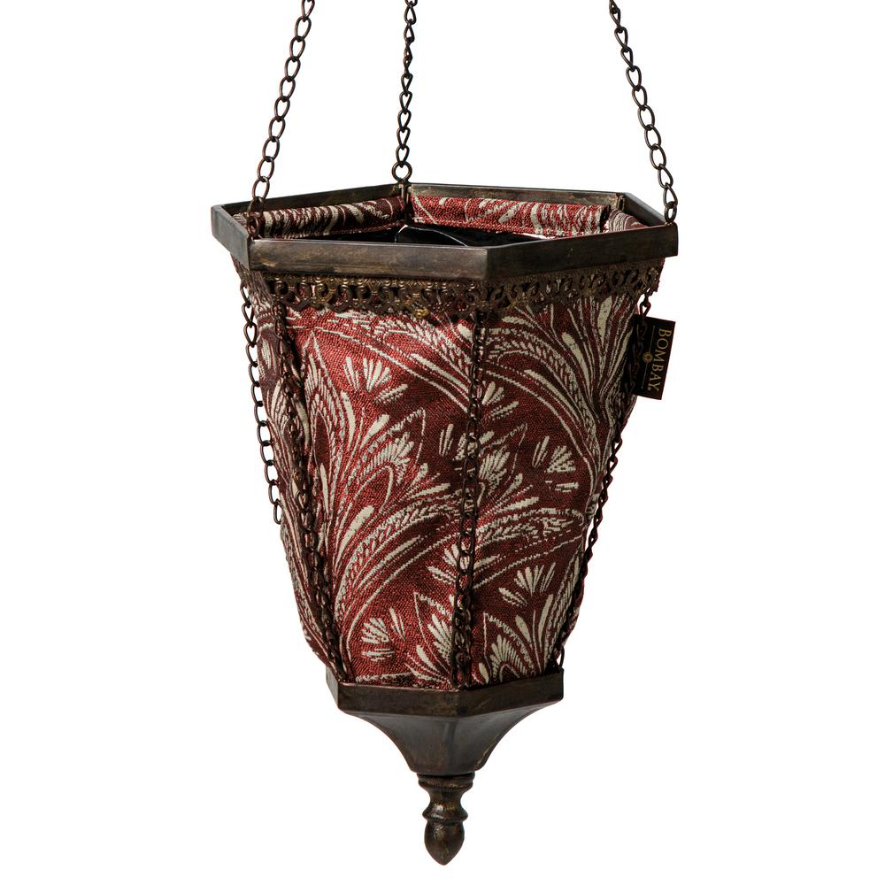 Pride garden products 12 in rope round hanging planter with chain 64356 the home depot - Metal hanging planter ...
