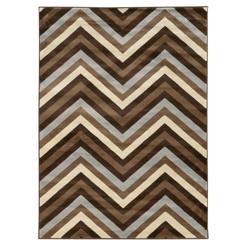 Roma Collection Chevron Chocolate and Beige 5 ft. 3 in. x