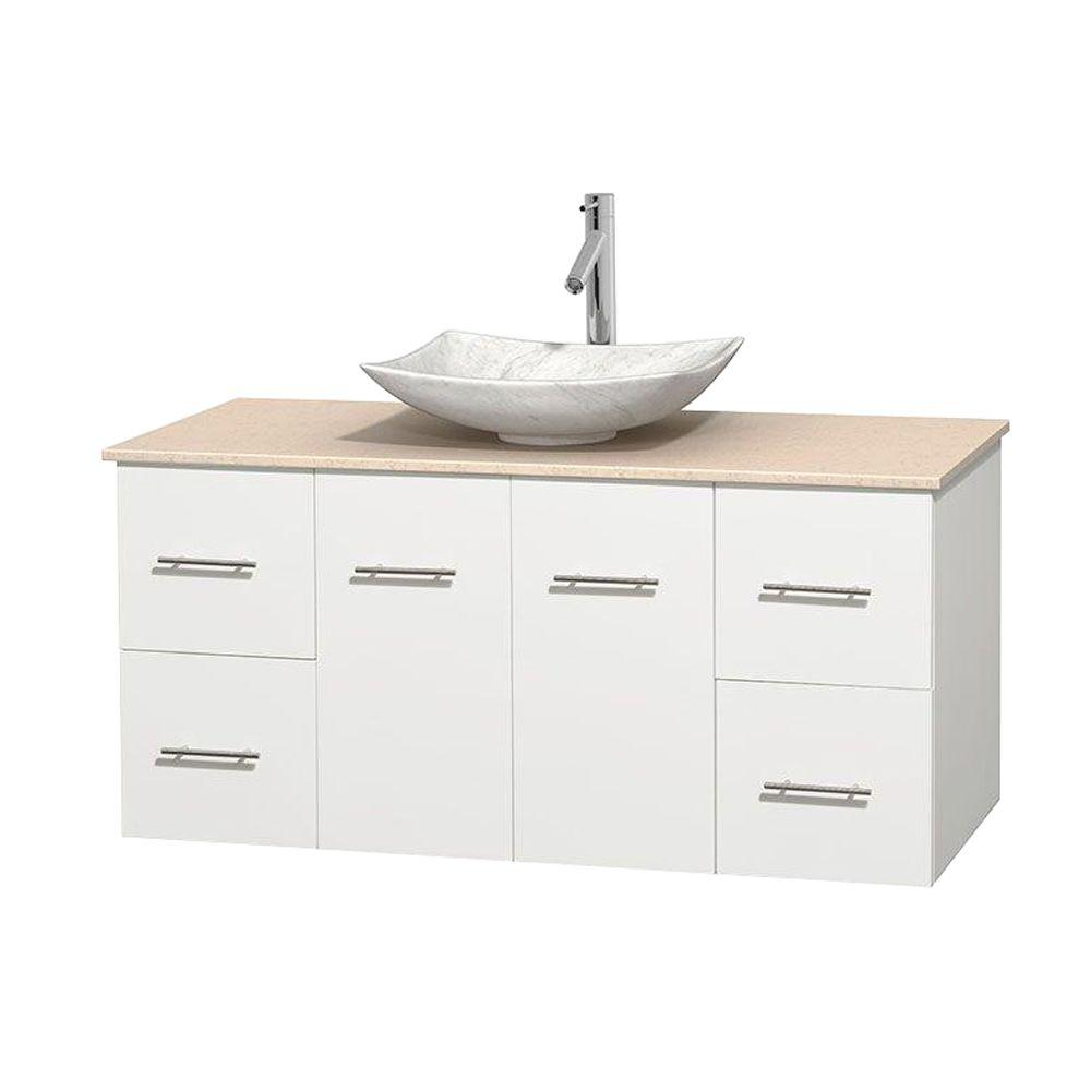 Wyndham Collection Centra 48 in. Vanity in White with Marble Vanity