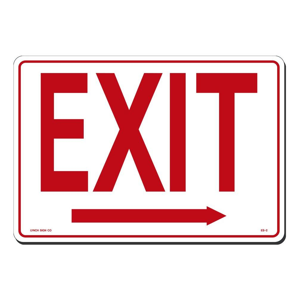14 in. x 10 in. Red on White Plastic Exit with