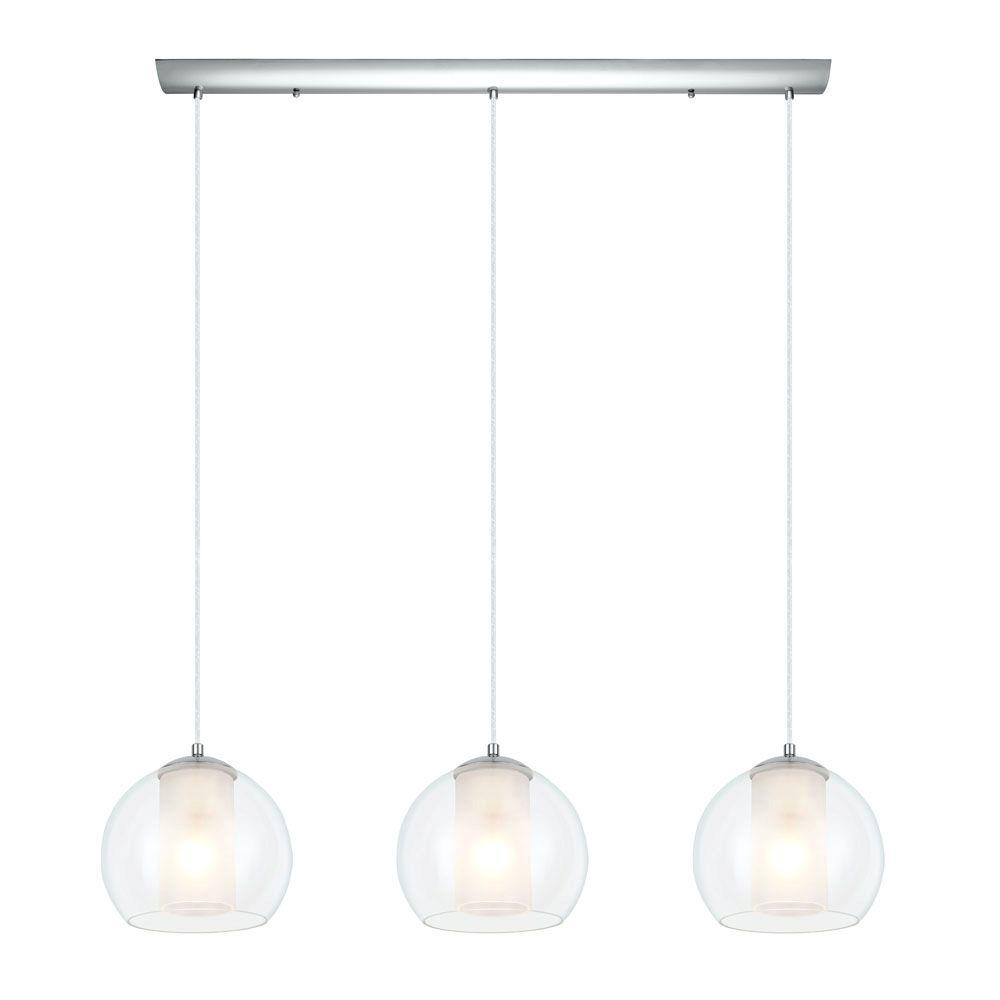 Eglo Bolsano 3-Light Satin Nickel and White Large Pendant-200418A - The