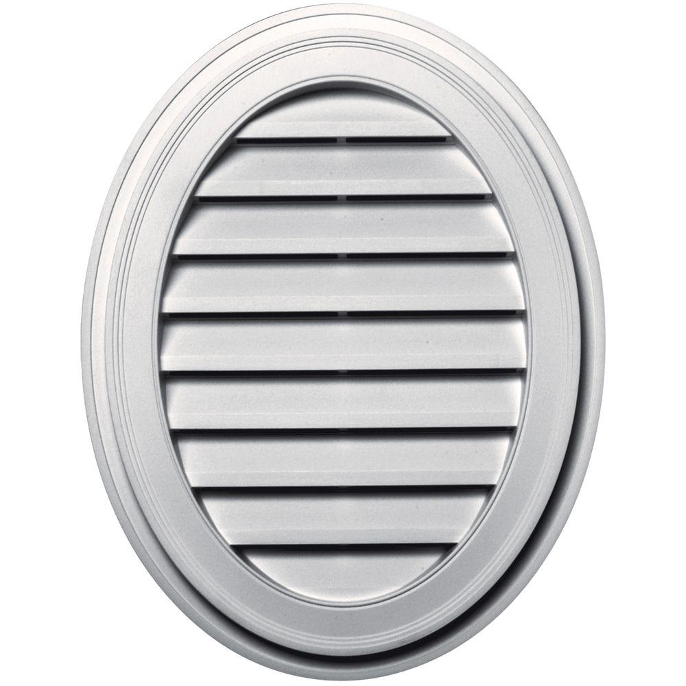 Builders Edge 27 in. Oval Gable Vent in Bright White-120042127117 -