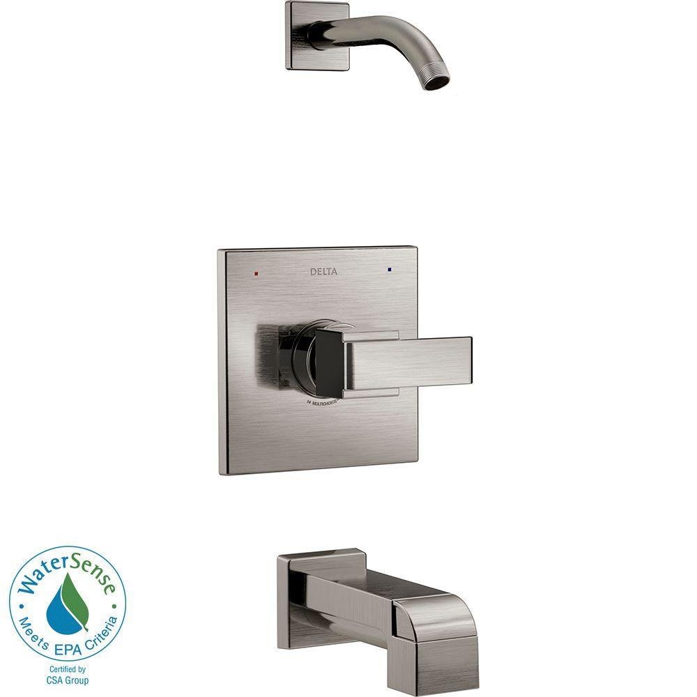 Ara 1-Handle Tub and Shower Faucet Trim Kit in Stainless with