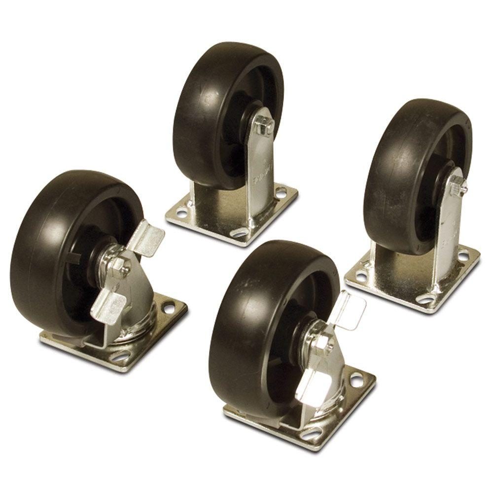 6 in. Casters Set (4-Piece), Black