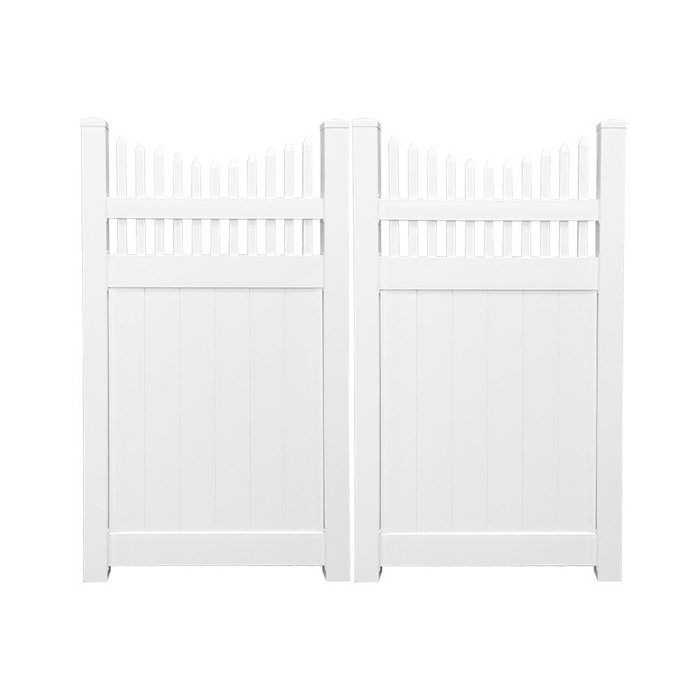 Halifax 7.4 ft. W x 6 ft. H White Vinyl Privacy Double Fence Gate