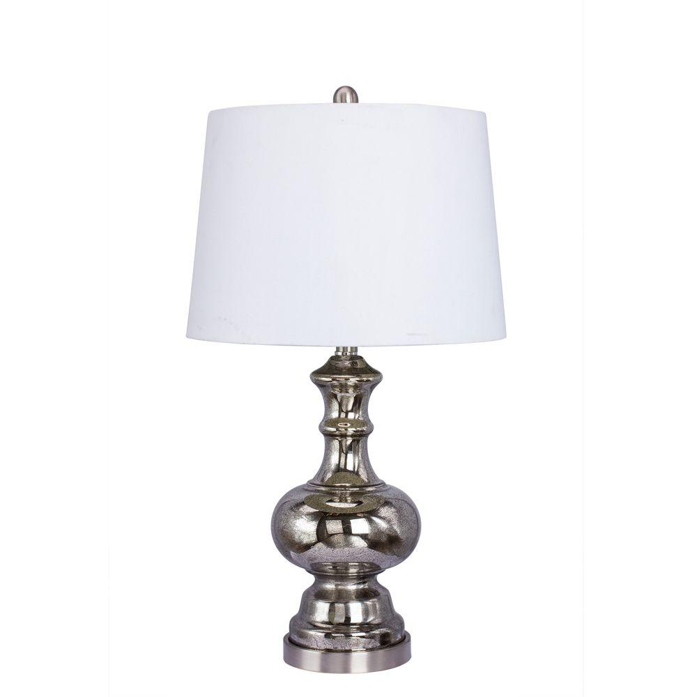26.5 in. Black Mercury Glass Table Lamp
