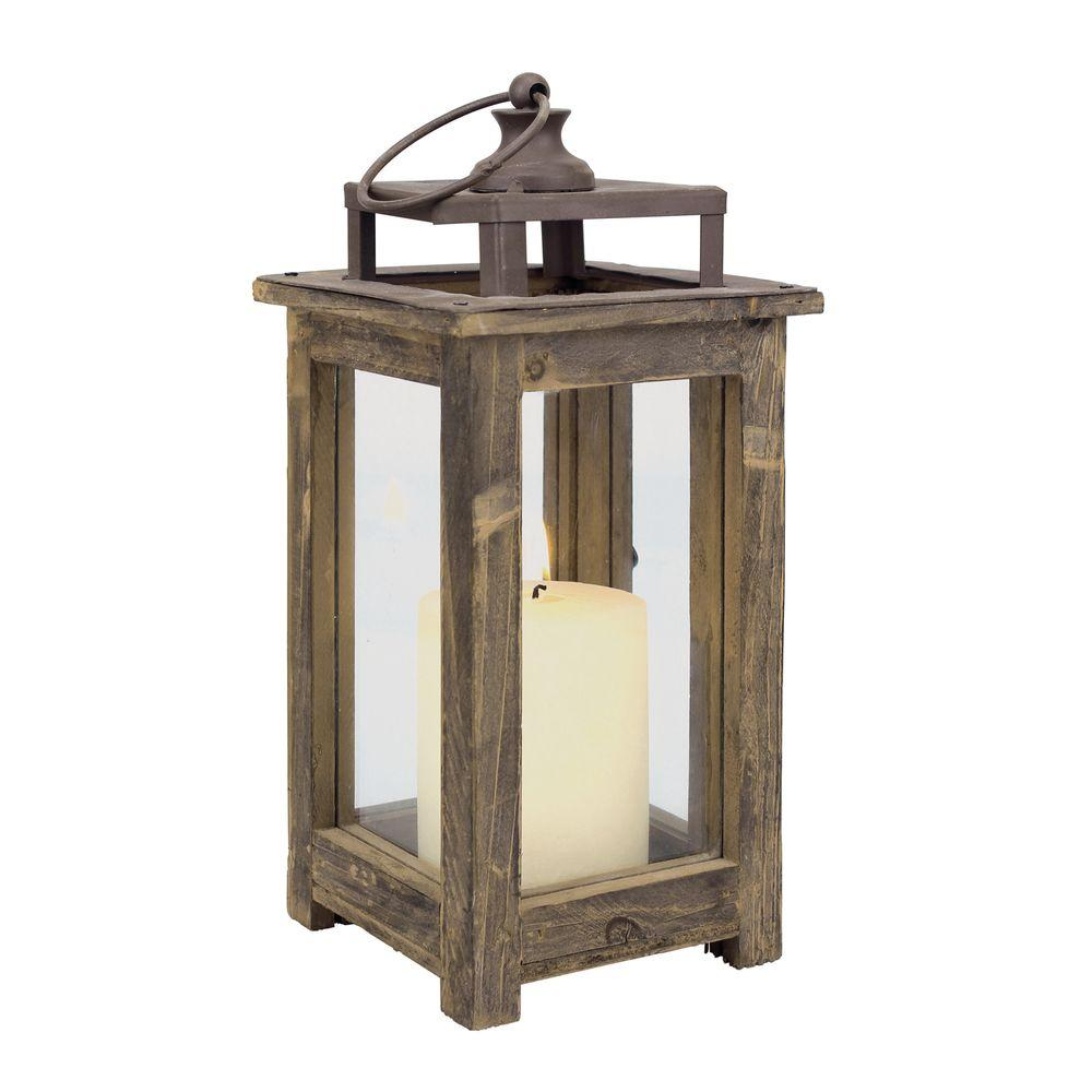 Stonebriar Collection 12 in. H Rustic Wood Lantern-SB-4476A - The Home