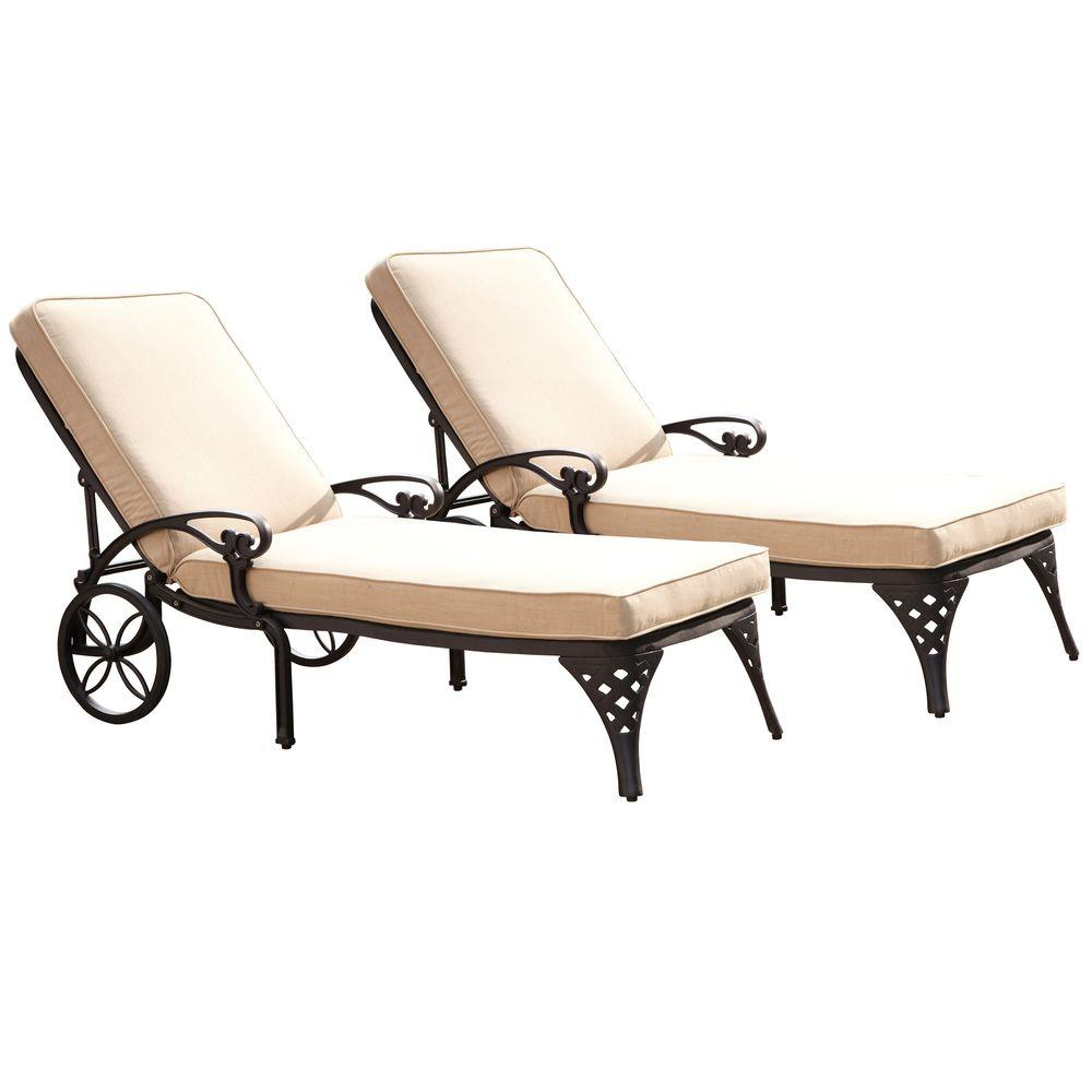 Biscayne Black Patio Chaise Lounge with Taupe Cushion (Set of 2)
