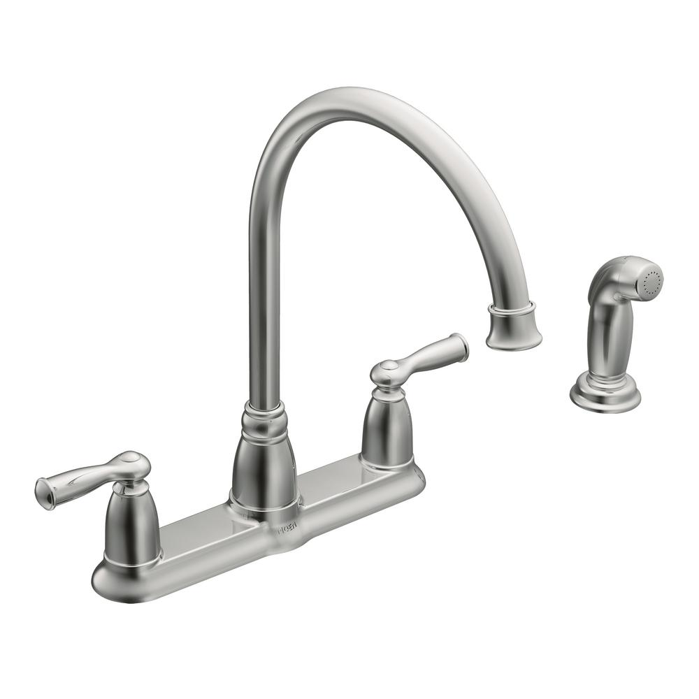 moen banbury high-arc 2-handle standard kitchen faucet with side