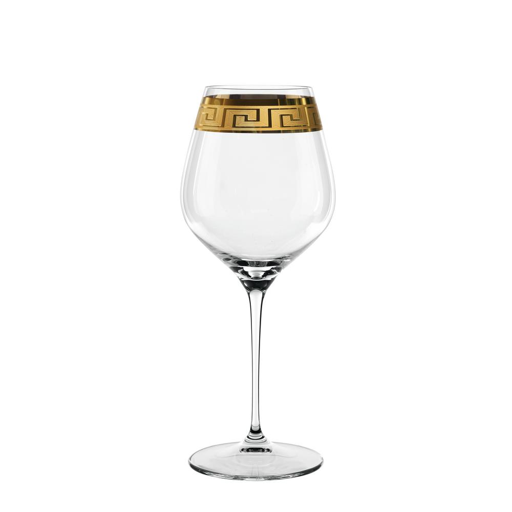 Muse 29.6 oz. Burgundy Glasses in Clear with Gold Trim (Set