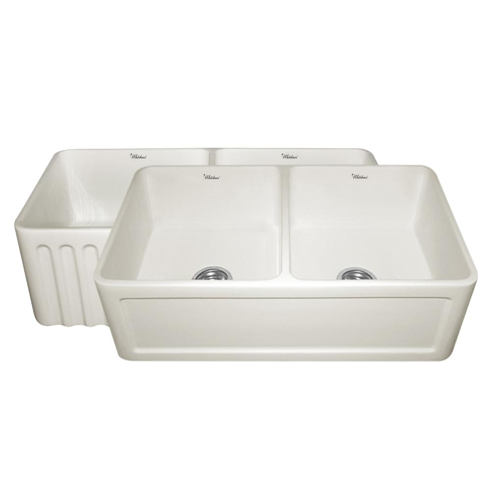 Double Bowl Apron Front Sink : ... Apron Front Fireclay 33 in. 0-Hole Double Bowl Kitchen Sink in Biscuit