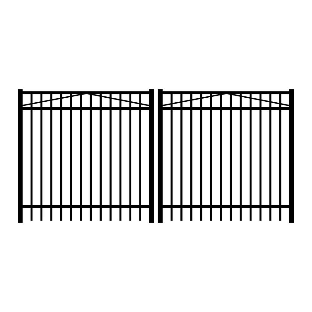 Jerith Jefferson 10 ft. W x 5 ft. H Black Aluminum 3-Rail Double Drive Fence Gate