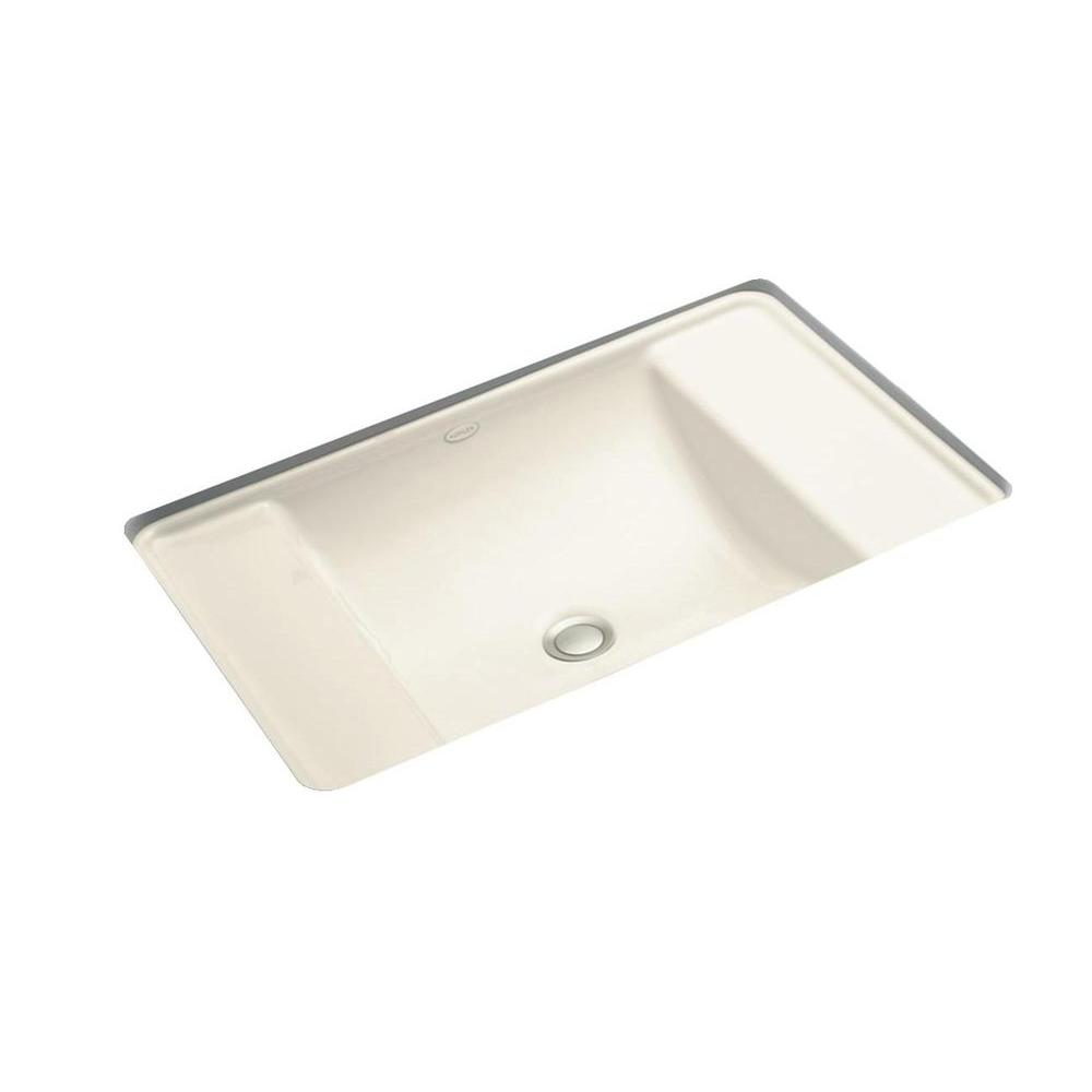 Ledges Undermount Cast Iron Bathroom Sink in Almond with Overflow Drain