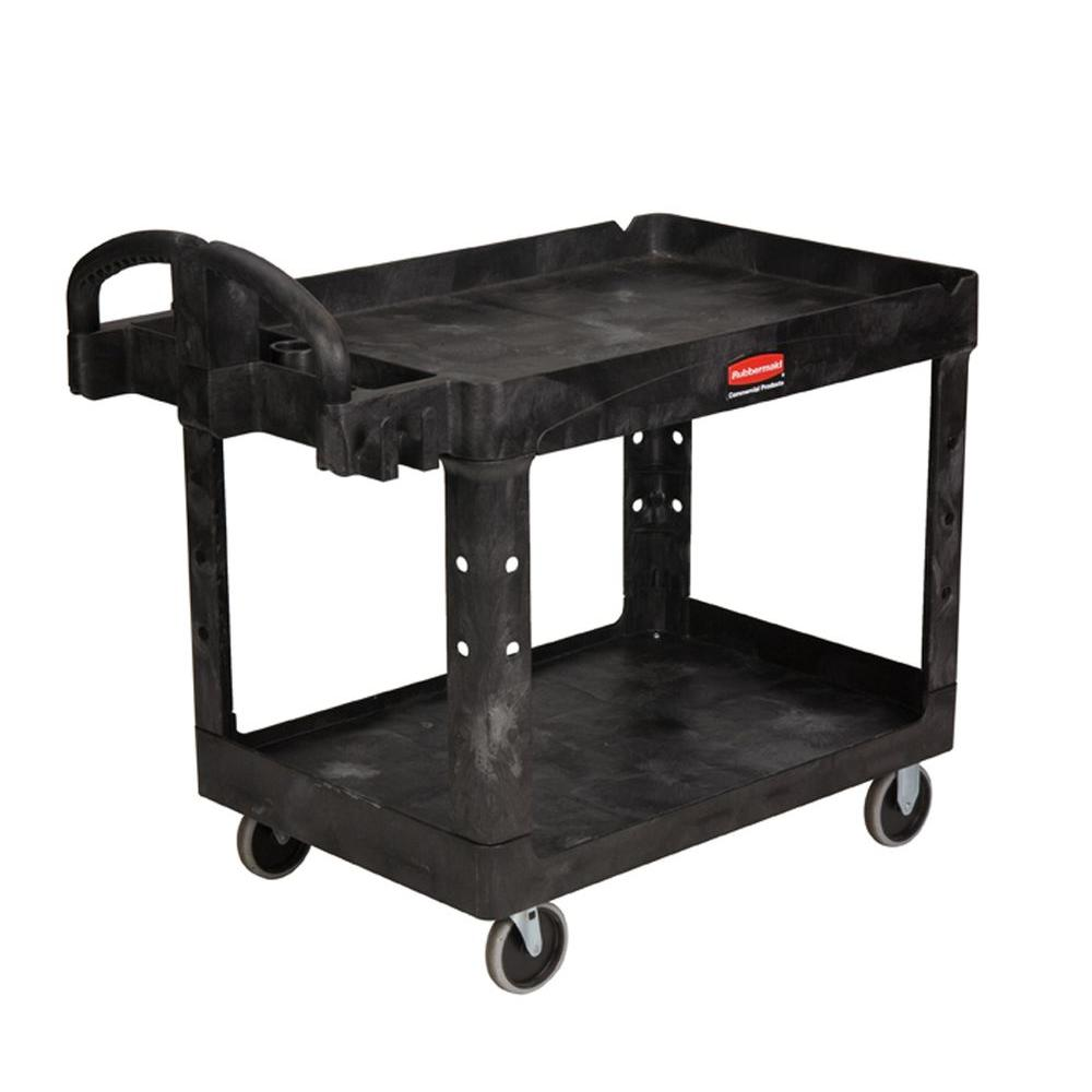 Rubbermaid Commercial Products Heavy Duty Black 2-Shelf Utility Cart with Lipped Shelf in Medium