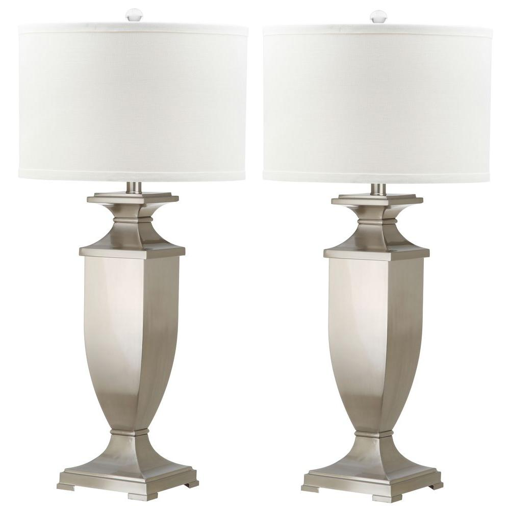 Ambler 31.5 in. Nickel Table Lamp with White Shade