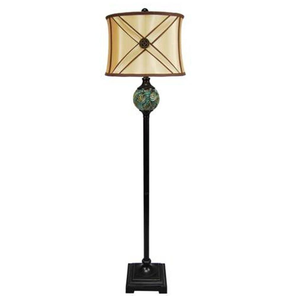 Fangio Lighting 62 in. Ceramic and Resin Floor Lamp, Blue and Bronze-DISCONTINUED