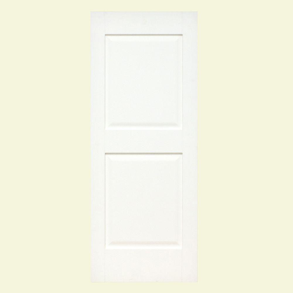 null Plantation 14 in. x 29 in. Solid Wood Raised Panel Exterior Shutters 4 Pair Behr Ultra Pure White-DISCONTINUED