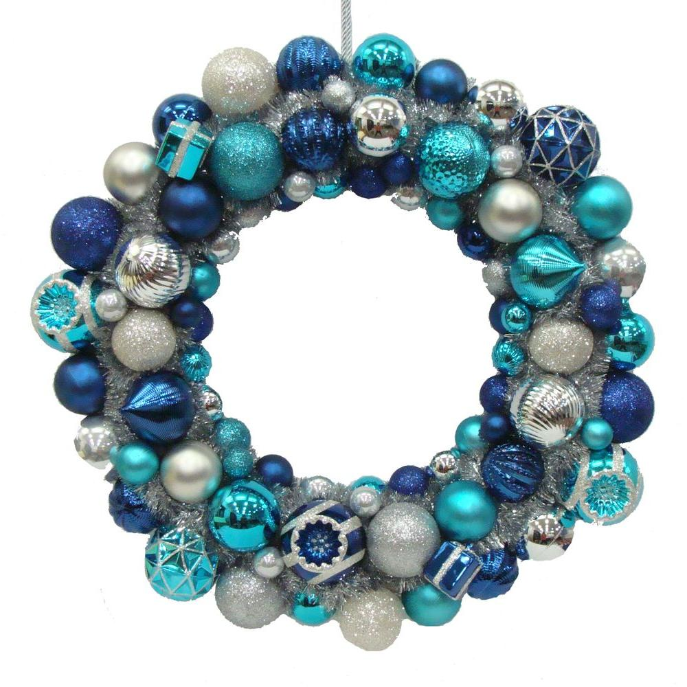 Martha Stewart Living Holiday Frost 24 in. Shatterproof Ornament Ball Artificial Christmas Wreath