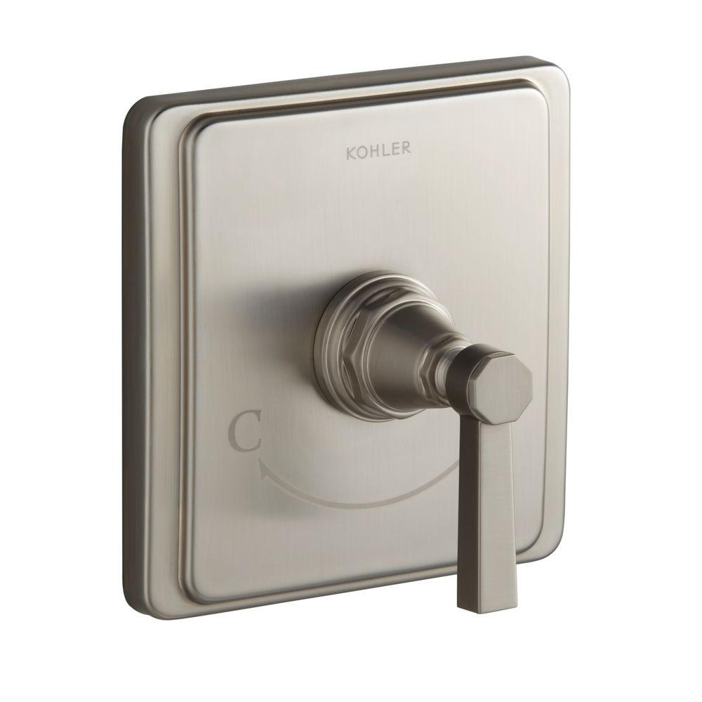 Pinstripe 1-Handle Wall Mount Thermostatic Valve Trim Kit in Vibrant Brushed