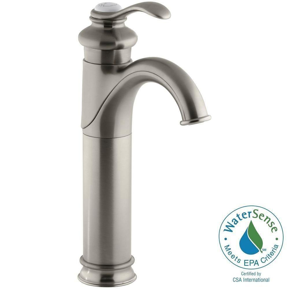 KOHLER Fairfax Tall Single Hole Single Handle Low-Arc Water-Saving Bathroom Faucet in Vibrant Brushed Nickel