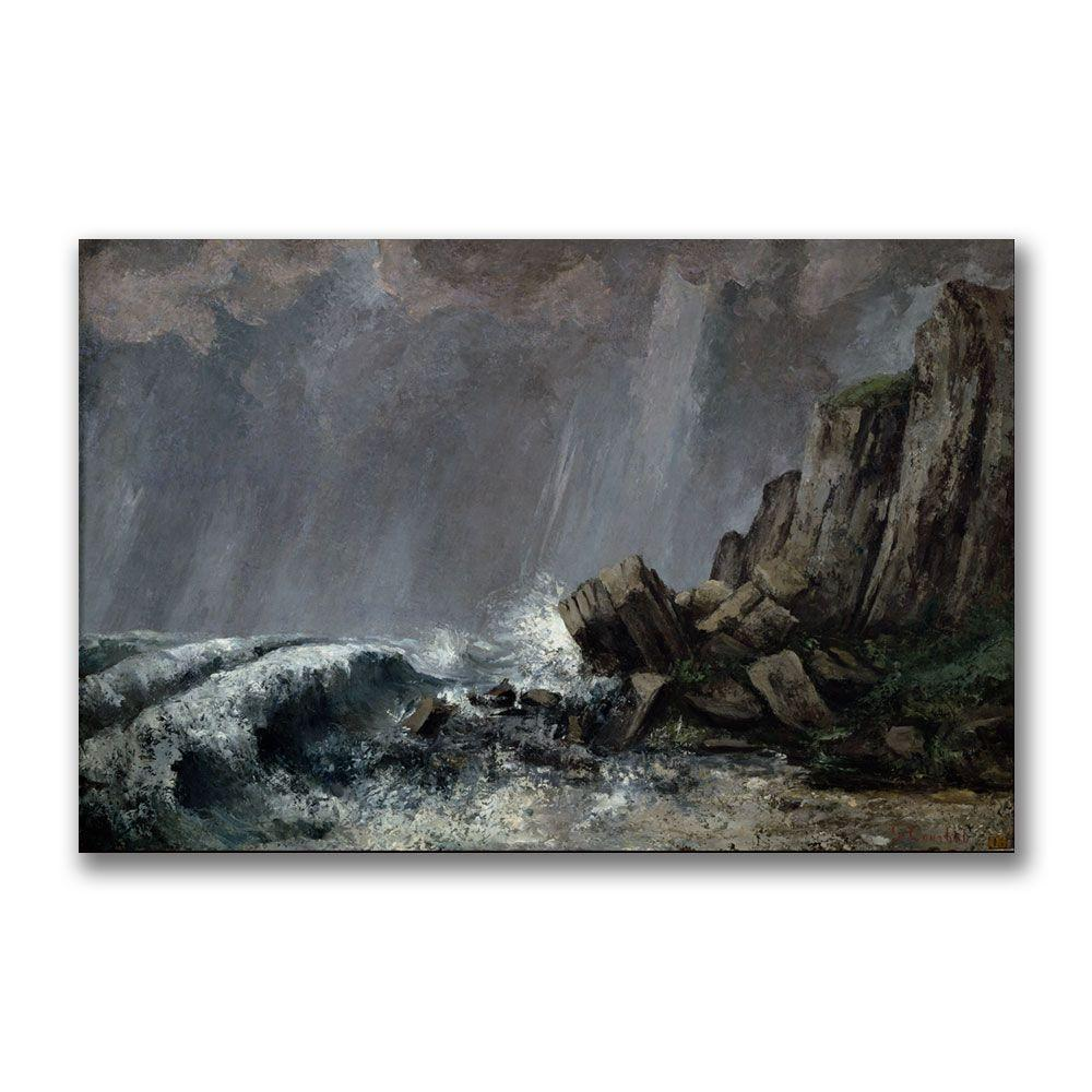 22 in. x 32 in. Downpour at Etretat Canvas Art