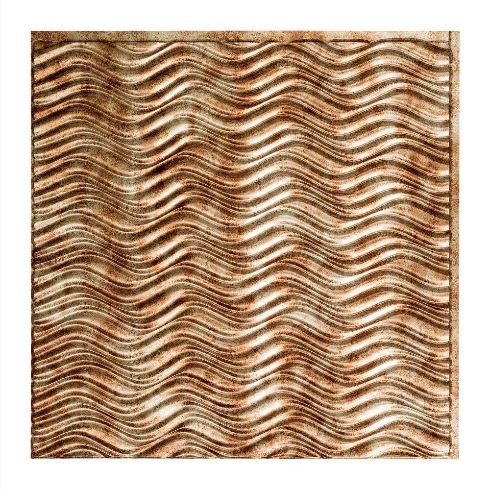 Fasade Current Horizontal - 2 ft. x 2 ft. Glue-up Ceiling Tile in Bermuda Bronze