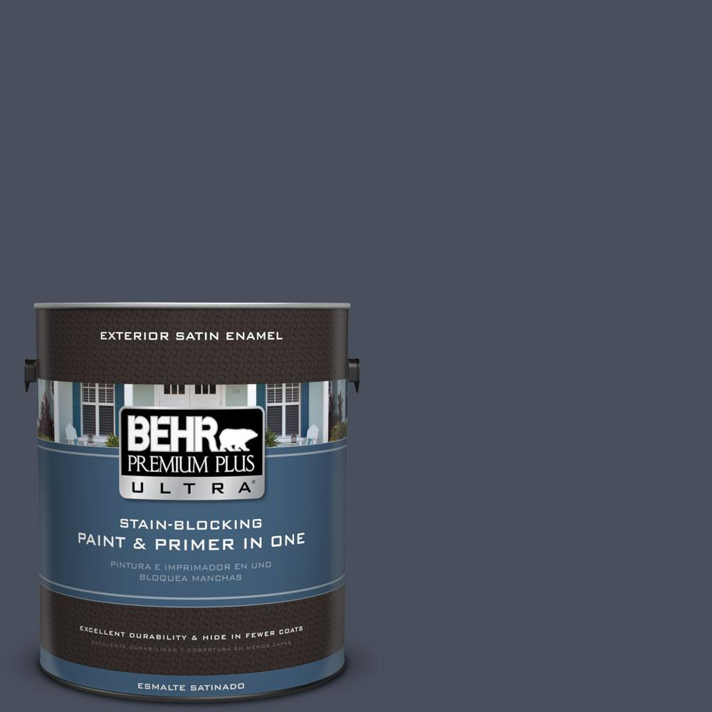 BEHR Premium Plus Ultra 1-gal. #S510-7 Dark Denim Satin Enamel Exterior Paint